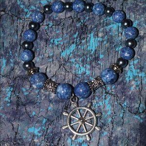 Blue and White Helm charm bracelet